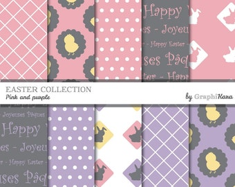 """Printable 12""""X12"""" Easter decorative papers (pink and purple)"""