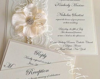 Vintage Garden Glitz U0026 Glamour   Cream And White   Couture Lace And Flower Wedding  Invitation