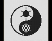 Black and White Yin Yang Summer Winter Counted Cross Stitch Pattern in PDF for Instant Download