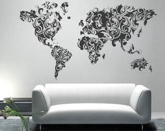Worldmap Tribal Decal - Large World Map Vinyl Wall Sticker - World Map Wall Sticker - Also available as Poster