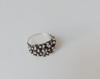 Blackened Silver Drip Ring