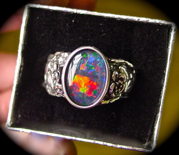 s ring genuine australian black opal ring vine by