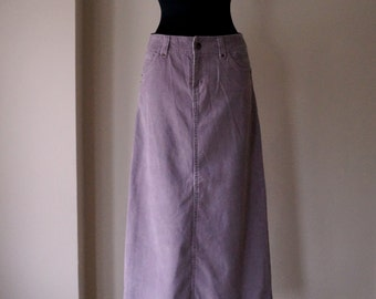 Powder lilac maxi corduroy skirt, A line lavender sweep long skirt, denim style front and back pockets, small size, vintage fashion