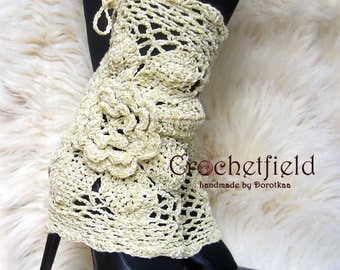 Beige Leg warmers, boot cuffs, lace boot socks, Crochet Dance / Ballet Leg Warmers,fitness boot socks,Gift for her, flower leggings