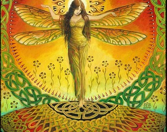 Dragonfly Goddess ATC ACEO Mini Print Altar Art Fine Art Print Pagan Mythology Bohemian Witch Celtic Fairy Goddess Art