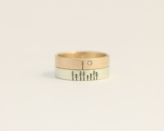 Unique Engagement Ring Diamond and Rose Gold Wedding Band Set