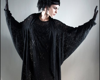 Art Deco Black Lace Batwing Sleeved Midi Cocoon Jacket Kimono Robe ~ Brand New by Kambriel
