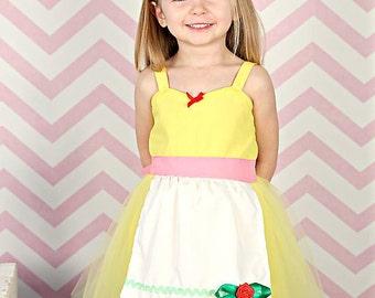 SALE BELLE dress,  Belle tutu dress, Princess costume, Apron dress, Belle costume, yellow dress, princess dress, birthday dress, flower girl