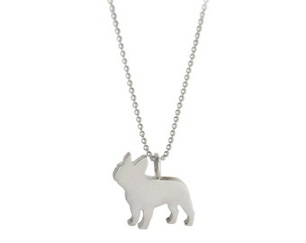 SALE! French Bulldog Silhouette Love My Pet Jewelry Sterling Silver Frenchie Pendant Necklace - Dog Lover Jewelry - For Pet People