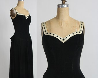 1950s Velvet Dress . Diamond Trim . LBD Black Gown