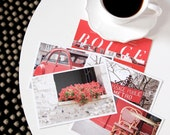 SALE Paris Postcard Set Red 4x6 Print, Paris Print Art Postcards