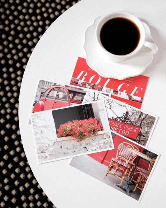 SALE Paris Postcard Set Red 4x6 Print, Paris Print Art Postcards