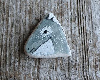Large Grey Beach Pottery Horse Head - Animal Medicine, Spirit Animal, Totem, Freedom