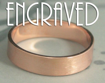 Rose Gold Wedding Band~Names in Ring~5mm Wide Band~Wedding Date Ring~Straight and Narrow~Flat Edge Band~Men's Wedding Band~Ring Engraving