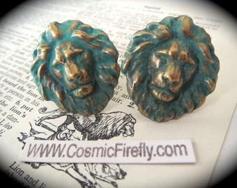 Big Green Lion Cufflinks Large Cufflinks Men's Cufflinks Leo Cufflinks Verdigris Green Victorian Animal Big Statement Cufflinks Leo Gifts