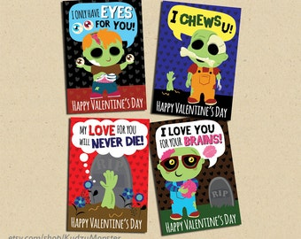 INSTANT DOWNLOAD Printable Classroom Zombie Valentines Cards Valentineu0027s  Day Funny Boys Valentine Brains Zombies Creepy Gross