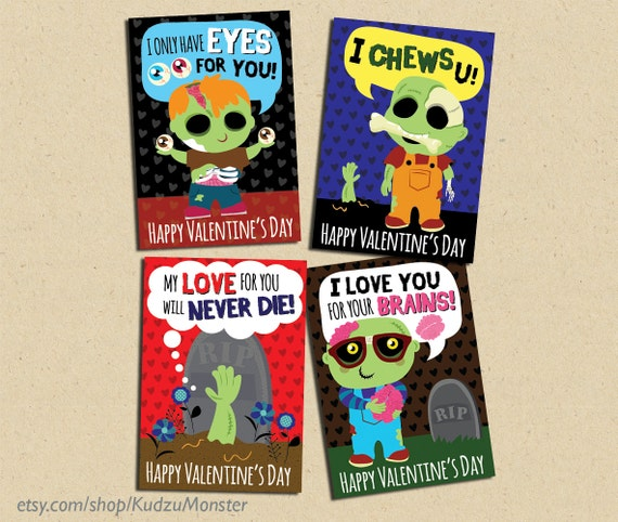 Items similar to INSTANT DOWNLOAD Printable Classroom zombie – Zombie Valentines Cards