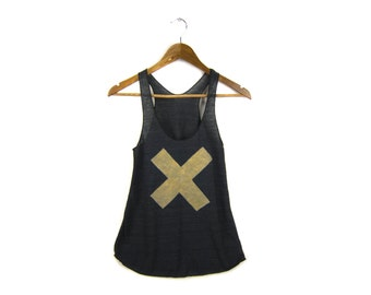X Marks the Spot Tank - Racerback Scoop Neck Swing Tank Top in Heather Black and Gold - Women's Size XS-2XL
