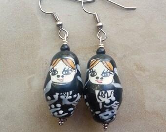 50% OFF Matryoshka Doll Earrings - Russian Nesting Doll Earrings - Black and White Dangle Earrings (Ready to Ship)