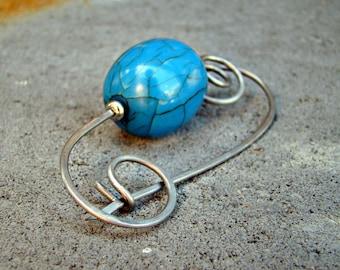 Blue Ice Artisan Stainless Steel Resin Scarf Shawl Kilt Pin Brooch