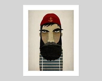 Fisherman Lobsterman Nautical Beard Portrait Art Illustration print SIGNED