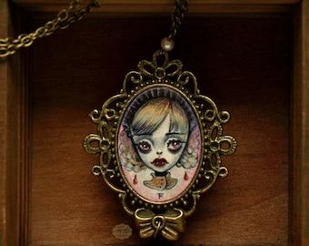 sale - Claudia - vampire necklace with miniature original painting - horror art jewelry - big eyes girl - pop surrealism - by Karolin Felix