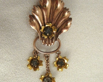 Rose Gold Filled Dangle Brooch 1940's Pin Signed Courtly