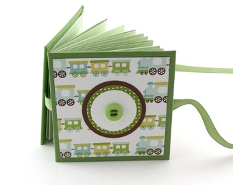 Train Time Mini Photo Book, 2x3 wallets - green, aqua, gold