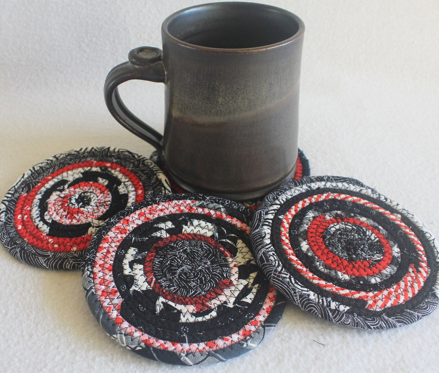 Coiled Rope Coasters / Black White Red / set of by PrairieThreads