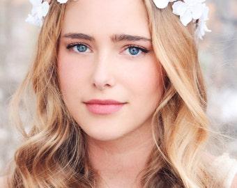 flower hair crown, bridesmaid headpiece, sea foam cherry blossom