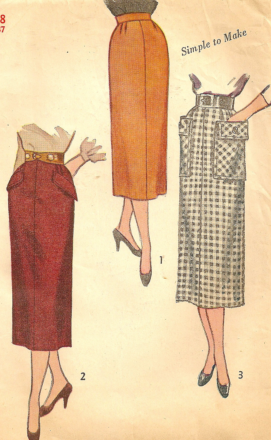misses vintage slim skirt sewing pattern kick by