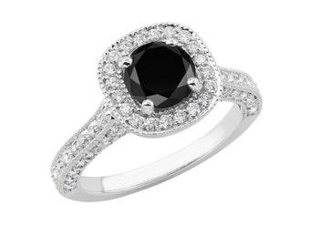 1.90 Carat Black & White Diamond Engagement Ring, Wedding Ring 14k White Gold Halo Certified Handmade Pave