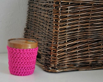 Bright Pink Ice Cream Cozy Crocheted Holder Pint Size Eco Friendly Reusable Cover Get Well Gift Friend Gift Easy Hold