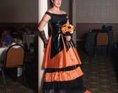 Orange and Black Wedding Dress Halloween Bridal Gown