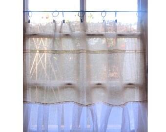 French Cafe Curtain, Rustic Kitchen, Linen Window Curtain, Sheer Curtain, Farmhouse Kitchen