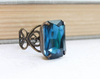 Dark Blue Zircon Ring Big Glass Rhinestone Gem Modern Glam Statement Jewelry Gold Brass Adjustable Filigree Bridal Jewelry Something Blue