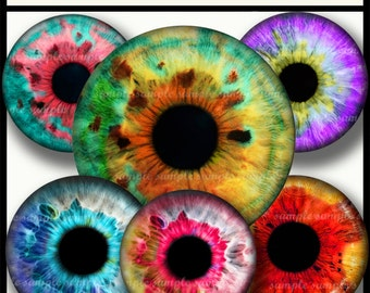 INSTANT DOWNLOAD  Colorful Eyes (722) 4x6 and 8.5x11  12mm circles Digital Collage Sheet glass tiles cabochon earrings images