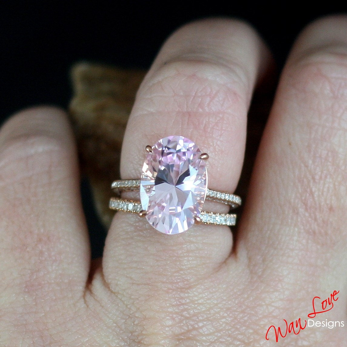 Custom Celebrity Light Pink Sapphire & Diamond Engagement Ring