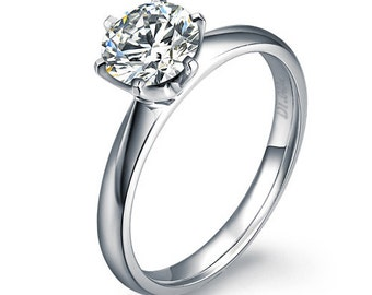 Round Cut Diamond Engagement Ring 14k White Gold or Yellow Gold Solitaire Diamond Ring