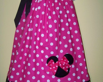 Minnie Mouse Pillowcase Dress / Pink Dots & Black Dots / Disney / Character / Infant / Baby / Girl / Toddler / Custom Boutique Clothing
