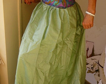 long silk gopi skirt stone green brand new silk sari size12UK summer trends goddess gypsy nomad hippie