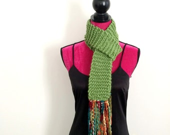 Hand Knit Bright Green Scarf with Colorful Fun Fringe - Handmade Knitted Accessory
