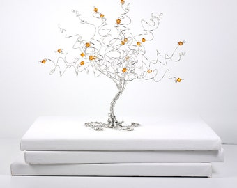Engagement Gift Birthstone Tree Sculpture Custom Wire Tree With Combination of Two Birthstones