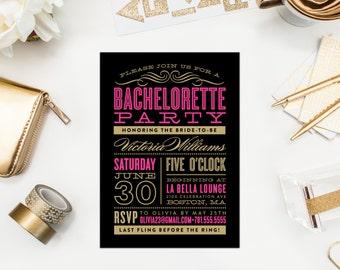 Old Fashioned Bachelorette Party Invitation