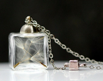 Tiny real dandelion seeds cube necklace. Glass cube with real dandelions, delicate necklace with silver cube. Dandelion jewelry for her.