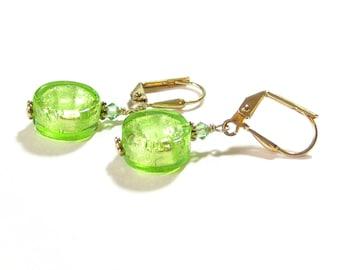 Murano Glass Lime Green Coin Gold Earrings, Venetian Jewelry, Small Dangle Earrings, Leverback Earrings, Clip On Earrings
