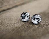 Moon earrings FREE SHIPPING -  moon jewelry - moon sweet earrings - space jewelry - solar system - black stud earrings