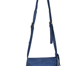MOJO. Blue leather bag / small leather crossbody / small leather purse / small leather bag / boho bag. Available in different leather color
