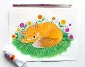 "SALE Sleeping Fox, Cute Fox, Nursery Art, Nursery Animal Illustration, Fox with Flowers, 6"" x 8"" Original Gouache Painting"