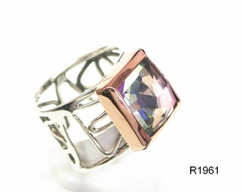 Estate Women's Designer Fashion Ring 9k Gold 925 Sterling Silver Rainbow 9ct, silver ang gold ring, rainbow silver jewelry, silver band ring